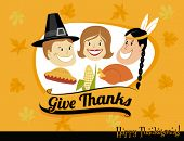 Thanksgiving Greeting, with pilgrims and native American celebrating autumn abundance, including tur