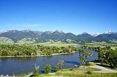 stock photo of snowy hill  - Yellowstone River Near Livingston Montana U - JPG