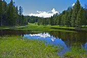 image of plateau  - Small Yellowstone Lake  Yellowstone Plateau - JPG