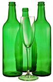 stock photo of loamy  - bottle from green glass and wineglass on white - JPG