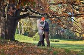 Feliz pareja besándose en bosque otoñal