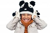 image of down jacket  - Girl concerned about noise pollution - JPG