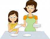 Illustration of a Little Girl Helping Her Mother Set the Table