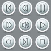 Walkman web icons, circle grey matt buttons