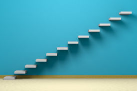 stock photo of plinth  - Empty room with ascending stairs blue rough wall beige floor and plinth - JPG