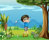 Illustration of a boy playing golf near the tree