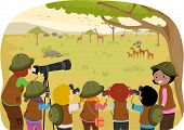 Illustration of Kids in the Middle of a Field Trip in the Safari