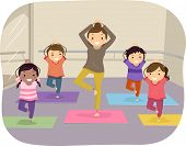 stock photo of yoga instructor  - Illustration of Kids Learning Yoga Through the Help of an Instructor - JPG