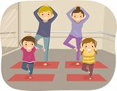 Illustration of a Family Practicing Yoga Moves Together