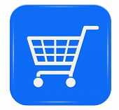 White shopping basket sign on blue button, eps10