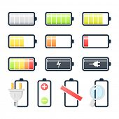 Battery charging icons set