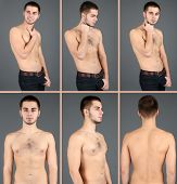 Snapshots of model. Handsome man on grey background