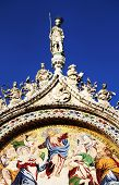 Architectural detail of Basilica San Marco, Venice, Italy - sunset light