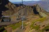 chair lift in the mountains of Krasnaya Polyana (Russia, Sochi)