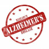 Red Weathered Alzheimer's Disease Research Stamp Circle And Stars