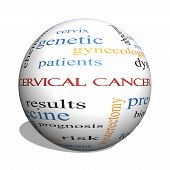foto of hpv  - Cervical Cancer 3D sphere Word Cloud Concept with great terms such as prevention women virus and more - JPG