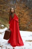picture of cloak  - beautiful woman with red cloak and suitcase - JPG