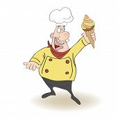 Funny Chef With Icecream