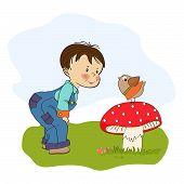 Little  Boy Talk With Funny Bird