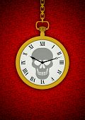 image of tick tock  - Illustration of a pocket watch with a skull on the face and the words tick tock in the background - JPG