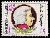 BULGARIA - CIRCA 1991: A stamp printed in Bulgaria shows Wolfgang Amadeus Mozart , circa 1991