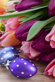 easter  eggs with bouquet of tulips