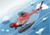 Isometric Arctic Emergency Helicopter In Flight In Front View