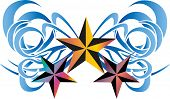 three stars tattoo tribal with ribbon on white background