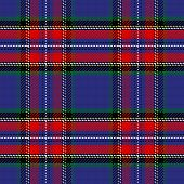 picture of kilt  - vector seamless pattern Scottish Stewart tartan blue white green red yellow - JPG