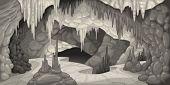 Inside the cavern. Cartoon and vector illustration.