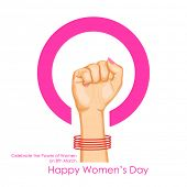 illustration of lady hand showing power in Happy Women's Day concept