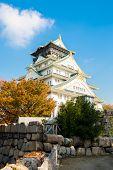 Osaka castle autumn in Kansai Japan