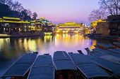 Hongqiao Bridge at Fenghuang (Phoenix) ancient town sunset duak, Hunan province, China