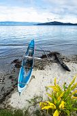A traditional Polynesian outrigger on the island of Kioa in Fiji is still used as transportation.