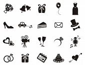 stock photo of car symbol  - Set of black silhouette icons for wedding invitations - JPG