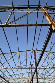 picture of purlin  - A steel skeleton structure is all that remains of a fire - JPG
