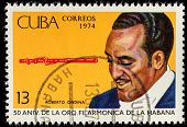 CUBA - CIRCA 1974: A stamp printed in the Cuba, shows the portrait of a musician - Roberto Ondina, c