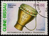 GUINEA - CIRCA 1989: A stamp printed in GUINEA shows drum, circa 1989