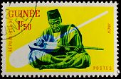 GUINEA CIRCA 1962: stamp printed by Guinea, shows Musical Instrument, Koni, circa 1962