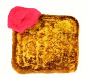 stock photo of french beret  - Slice of french toast with beret on a white background - JPG