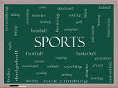 Sports Word Cloud Concept On A Blackboard