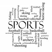 Sports Word Cloud Concept In Black And White