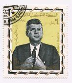 YEMEN-CIRCA 1965: John Fitzgerald Kennedy on Yemen postage stamp, circa 1965