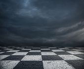 Chess Floor And Dark Sky Background