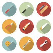 stock photo of reconstruction  - Tools flat vector icons set - JPG