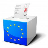 detailed illustration of a ballot box with the european flag on it, eps10 vector