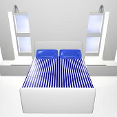 3D White Bedroom With Blue Bedspread