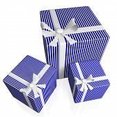 Blue Striped Gifts With White Bow Ribbons