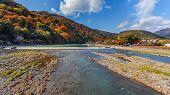 Oigawa river at Arashiyama area in Kyoto