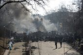KIEV, UKRAINE - February 21, 2014: Ukrainian revolution. Barricades on Institutskaya street